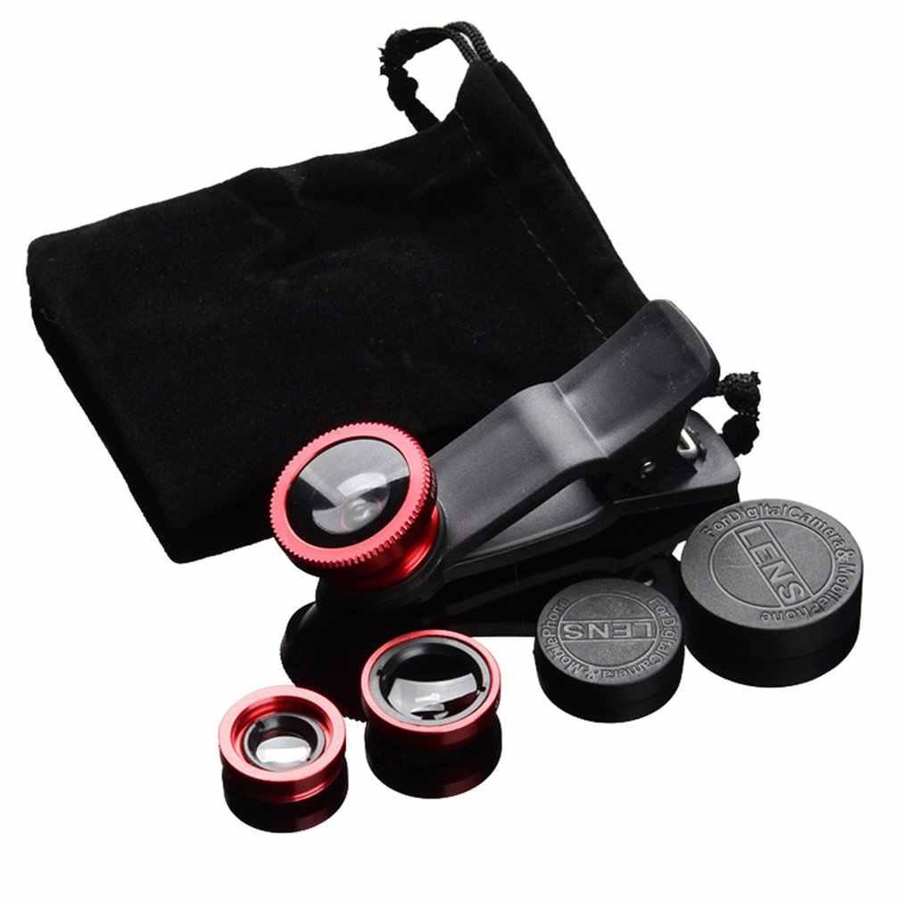 3-In-1 Wide Angle Makro Fisheye Lensa Kamera Kit Ponsel Mata Ikan Lensa dengan Klip 0.67x untuk Semua Ponsel Lensa Kamera