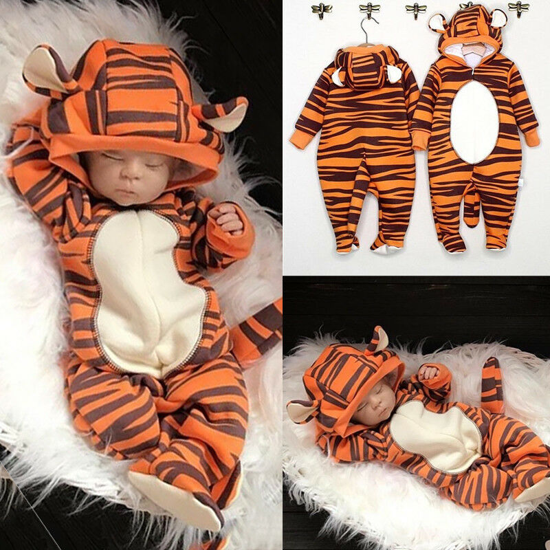 Newborn Baby   Romper   Boy Girl Tiger   Romper   Autumn Hoodies Jumpsuit Playsuit Cartoon Babygrows Costume Outfits 0-18M Fast Shipping