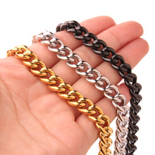 Hip hop Men's Thick Silver/Gold/Black Neck Chains For Men Stainless Steel Heavy Miami Curb Cuban Link Chain Necklaces Jewelry high quality 21mm 60 cm super heavy thick mens flat curb cuban chain necklaces tone stainless steel hip hop gold silver necklace