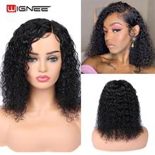 Human-Hair-Wigs Curly Wignee-Side Brazilian Lace Swiss Preplucked Women Black/white Part