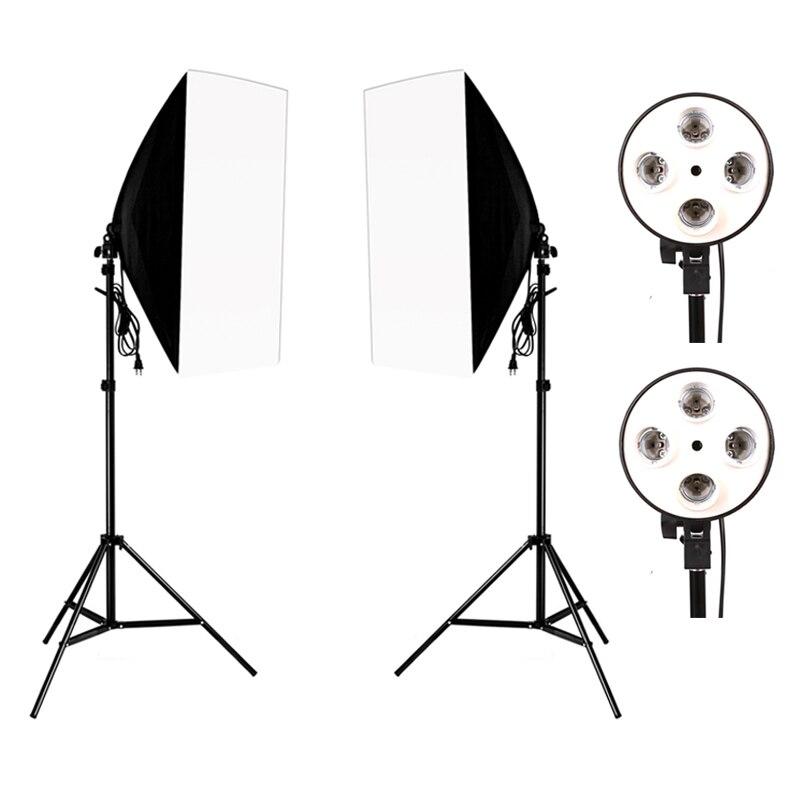 Photographie Photo Studio Kit d'éclairage 2 pièces * 4 douille support de lampe + 2 pièces * 50*70CM Softbox + 2 pièces * 2m support de lumière Photo boîte souple