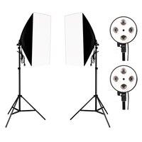 Photography Photo Studio Lighting Kit 2PCS*4 Socket Lamp Holder +2PCS* 50*70CM Softbox +2PCS*2m Light Stand Photo Soft Box
