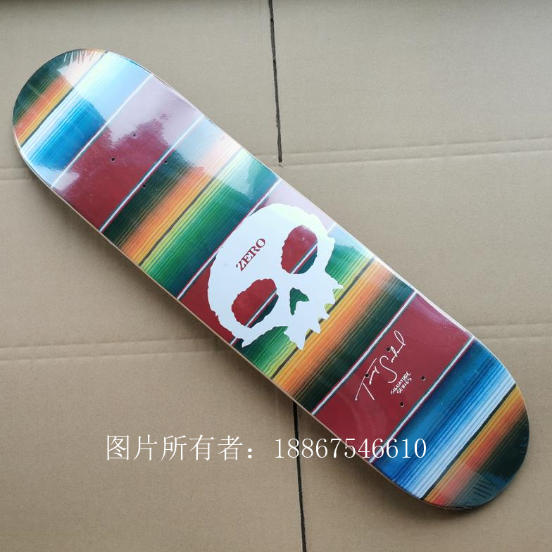 Good Quality ZERO 7 Plies Of Canadian Maple Epoxy Glue Double Kick Skateboard Deck Two Plies Dyed Red Color Professional Level