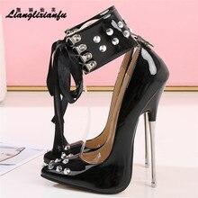 Crossdresser Rivet Pointed Toe PUNK Lace-up shoes woman 16cm Super thin high heels wedding