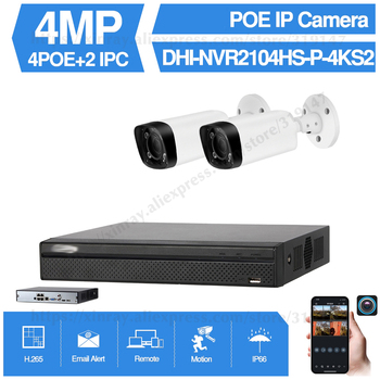 Dahua 4MP 4+2/4 Security CCTV Kits Original NVR NVR2104HS-P-4KS2 2/4PCS IP Camera IPC-HFW4431R-Z Motor Zoom Surveillance System