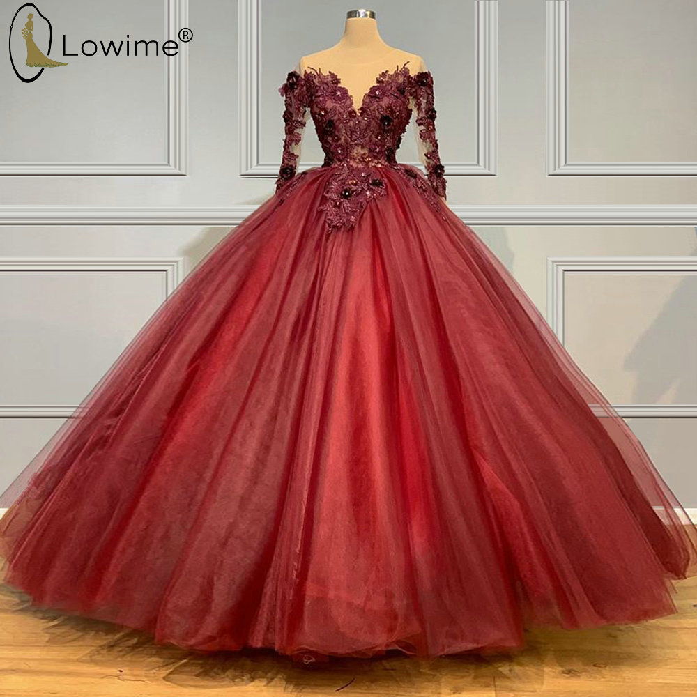 2020 Burgundy Appliqued Long Sleeve Evening Dresses Sheer O Neck Middle East Robe De Soiree Prom Party Gowns