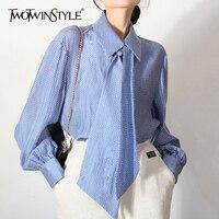 TWOTWINSTYLE-Blusa de manga larga holgada para otoño, camisa color azul con solapa y farol para mujer, 2021