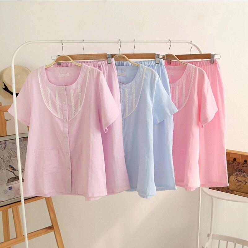 100% Cotton Women Pajamas Sets Summer Short Pyjamas Polyester Printing Female Womens Clothings