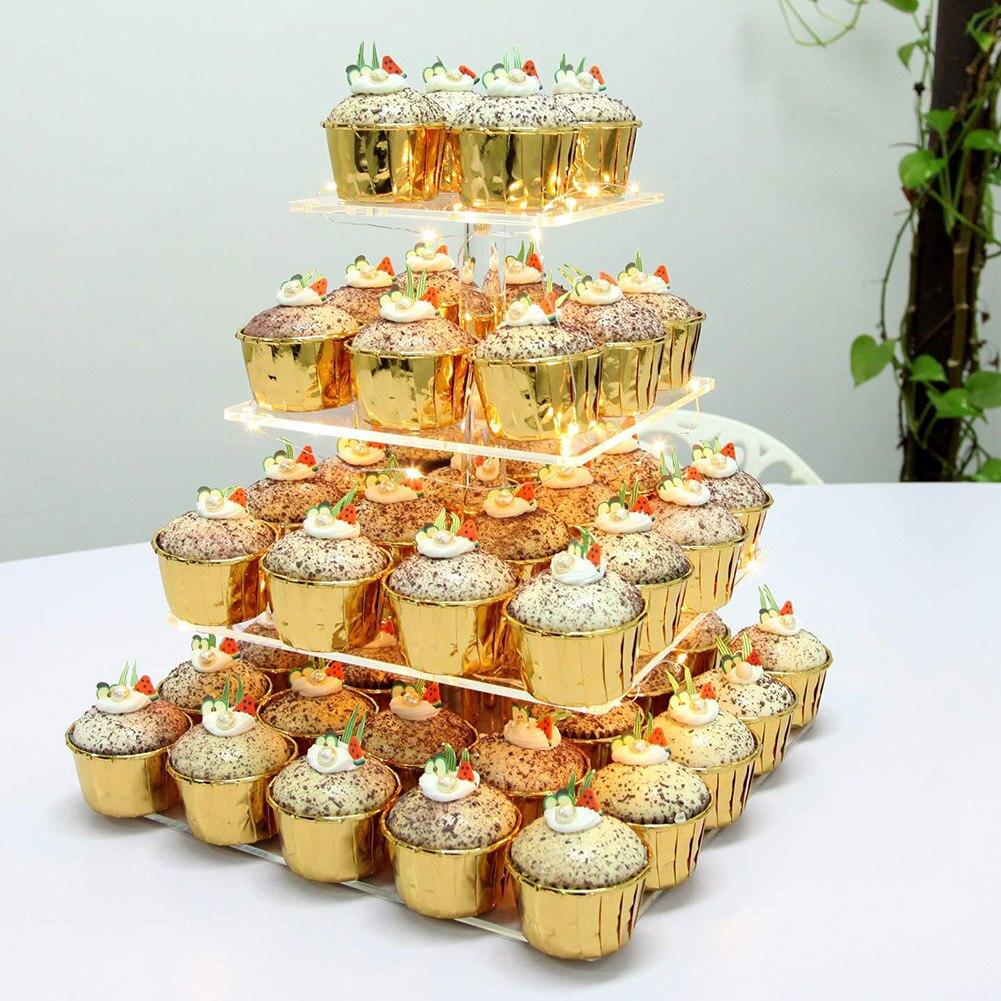Support de pâtisserie à 4 couches   Support acrylique pour présentoir de Cupcake, tour d'arbre à desserts pour fête d'anniversaire et mariage RT99