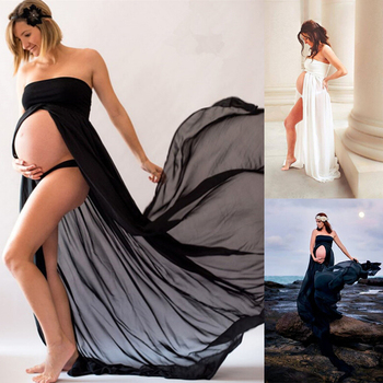 Women Pregnancy Dress Lace Long Strapless Maxi Dress Black White Sexy Maternity Dresses for Photo Shoot Photography Props belva maternity dress pregnancy ultra soft bamboo fiber long dresses tank dress slim fit maxi blue black summer dress dr111