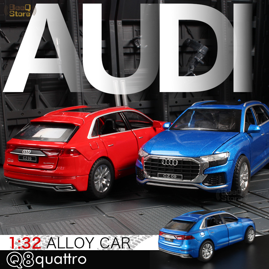 1/32 Diecast Model Car Q8 SUV Off-road Hight Simulation Matel Cars Light & Sound Alloy Toys For Kids image