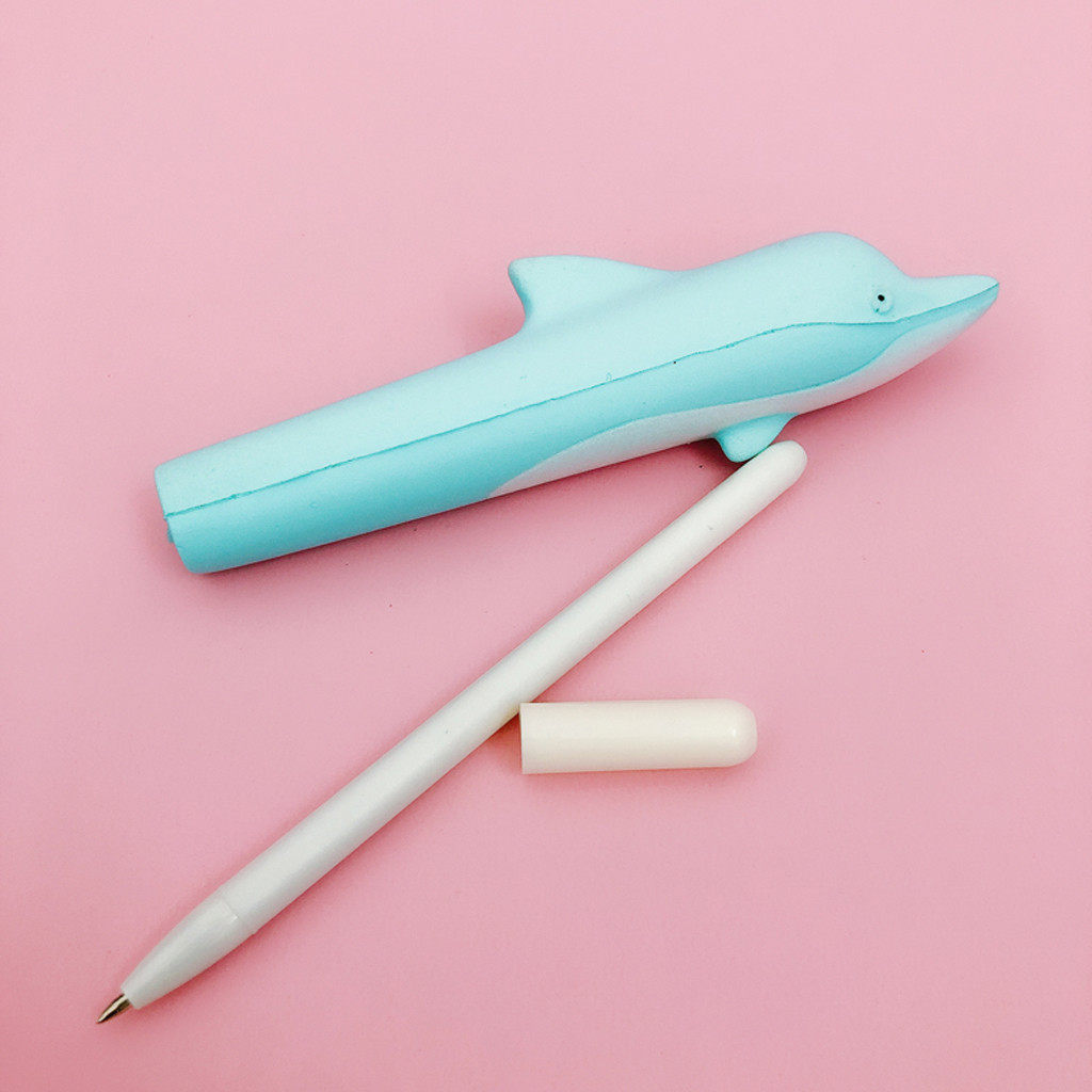 Dolphin Pencil Case Toy Creative Kawaii Dolphin Pen Cap Sticky Slow Rising Pencil Holder Soft Kids Funny Toy Gift L0117