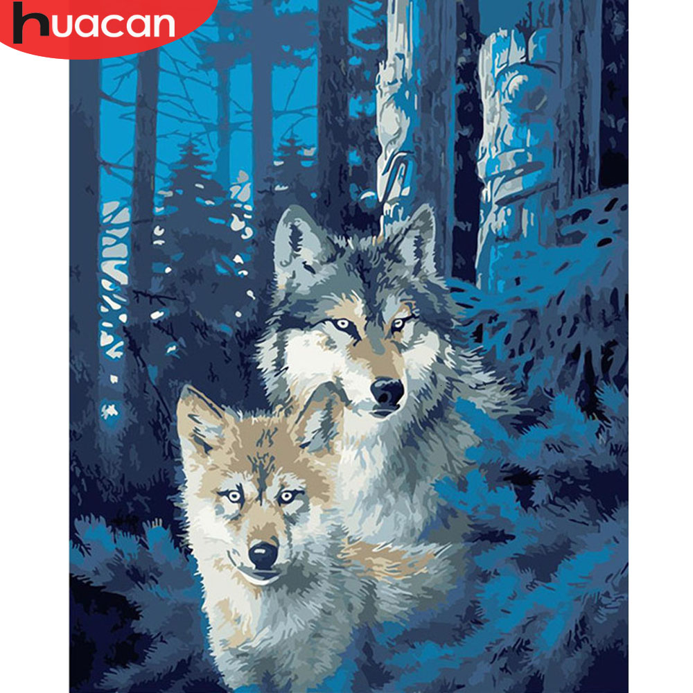 HUACAN Oil Painting By Numbers Wolf Animals HandPainted Kits Drawing Canvas Pictures Home Decoration DIY Winter Gift