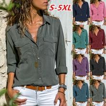Fashion Women shirt Blouse Tops Holiday Plain Long Sleeve Loose Comfy Casual Off