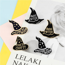 Insignias básicas para sombrero de bruja, broches góticos, Hechicero mágico oscuro con solapas y botones, alfileres esmaltados, bolso, camisa, chaquetas, regalo de joyería Punk para Amiga