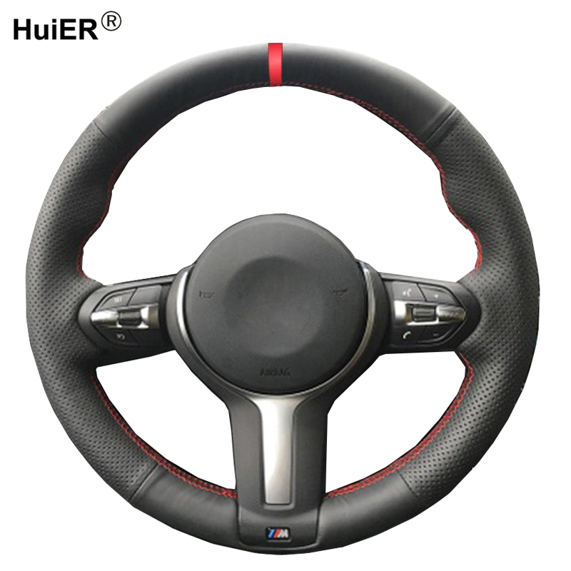 Black Genuine Leather Car Steering Wheel Cover for BMW X3 F25 X4 F26 2015-2017