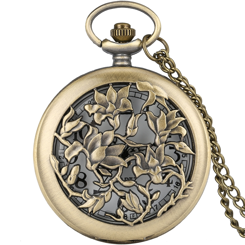 Exquisite Bronze Hollow Flowers Floral Rattan Pocket Watch Analog Quartz Necklace Pendant Retro Sweater Chain Christmas Gifts