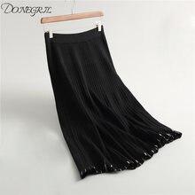 Женская трикотажная длинная юбка зимний теплый свитер полосатая