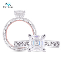 DovEggs 14K Two Tone Center 6*6mm Asscher Cut F/GH Color Moissanite Engagement Women Ring with Accents Overlapped Band цена 2017