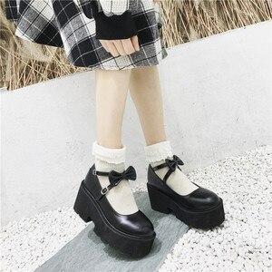 Image 2 - YMECHIC 2020 ニュークロスストラップボウタイ原宿パンクパーティーロリータメアリージェーン女性の靴ハイヒール黒プラットフォーム女性パンプス