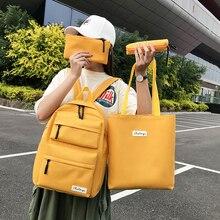 Fashion 4 Pcs/set Canvas Backpack Women School Bags for Teenagers Female Travel Girls Boys Satchel Mochilas 5657