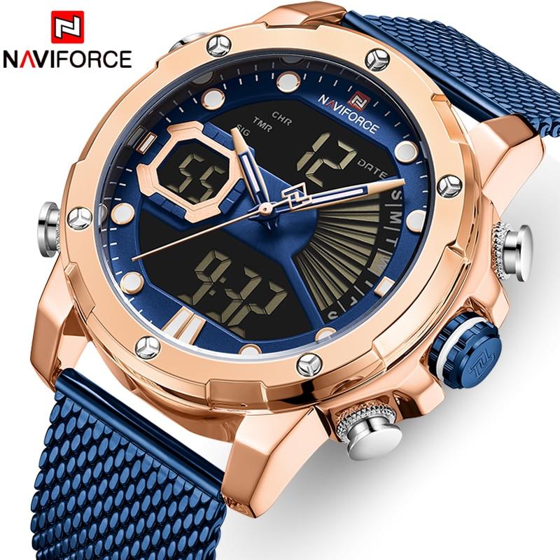 NAVIFORCE Watch Men Top Luxury Brand Stainless Steel Quartz Men's Watches Big Dial Sport Wristwatch Male Clock Relogio Masculino