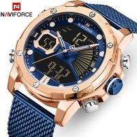 Naviforce relógio masculino relógio de pulso masculino relógio de quartzo de aço inoxidável da marca de luxo dos homens relógios grande dial relógio de pulso masculino relogio masculino|Relógios de quartzo| |  -