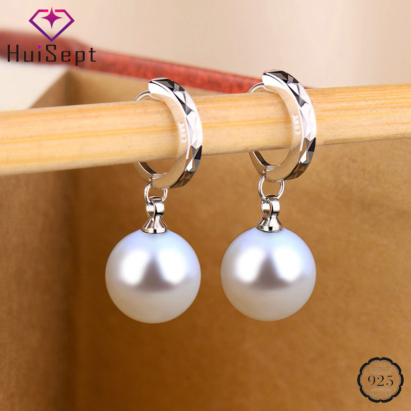 HuiSept Fashion Earrings 925 Silver Jewellery Ornaments for Women Freshwater Pearl Gemstone Drop Earrings Wedding Gift Wholesale
