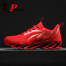 PULOMIES Men Spring Running Sports Shoes Lace up Fire Platform Sneakers Men Breathable Jogging Casual Shoes Large Size38 46