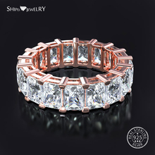 Shipei 100% 925 Sterling Silver Fine Jewelry Rose Gold Yellow Gold White Sapphire Stackable Ring Wedding Band For Women Men Gift