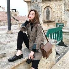Vintage Plaid Women Suit Jacket Double Breasted Korean-style