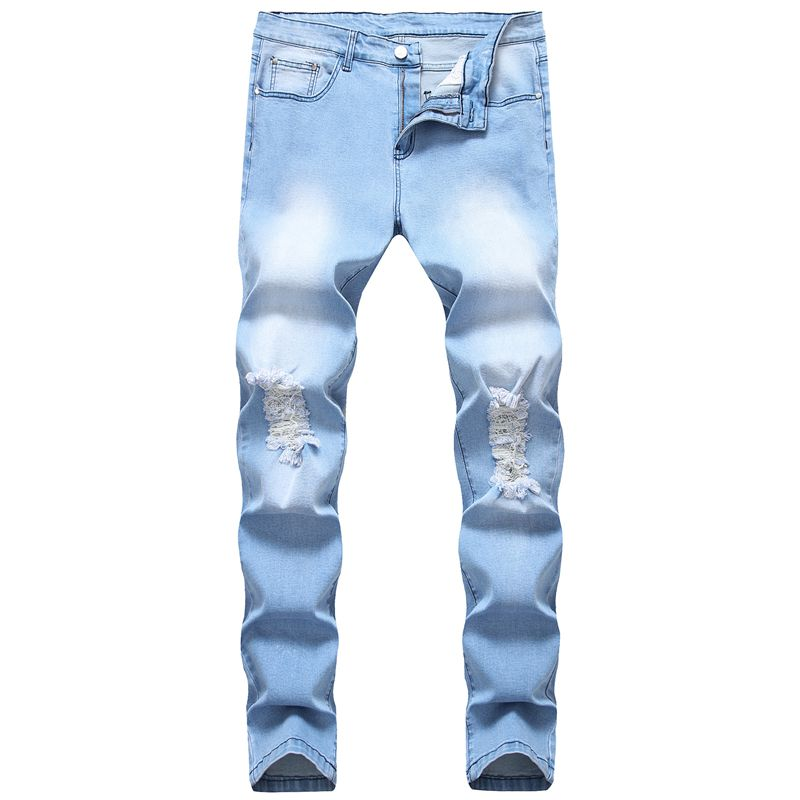 Washed Jeans Men 2019 Vintage Distressed Jeans Male Fashion Streetwear Blue Ripped Jeans For Men Retro Casual Skinny Denim Jean