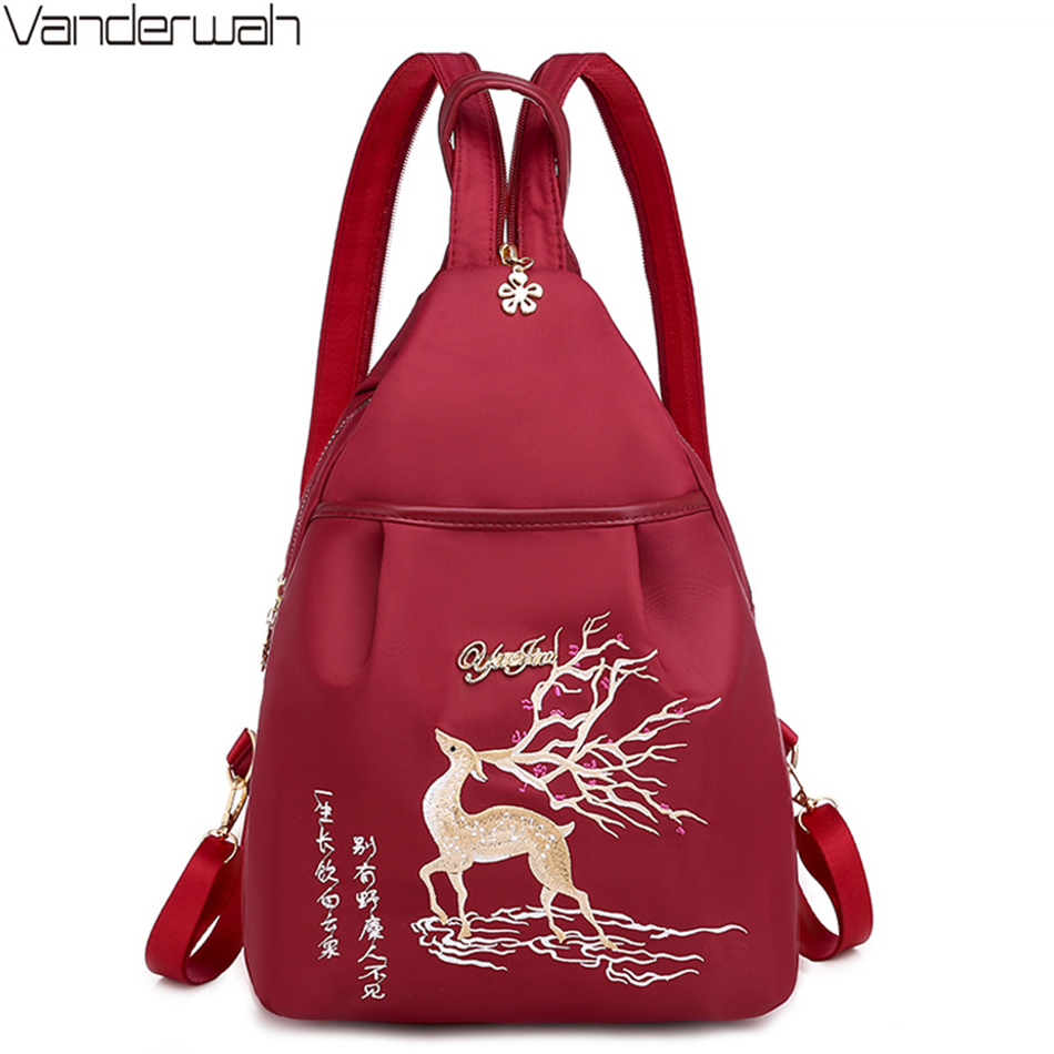 Fashion Chinese Style Embroidery Ladies Backpack 3 In 1 Waterproof Oxford Bagpack Small Bags For Women 2020 Mochila Feminina