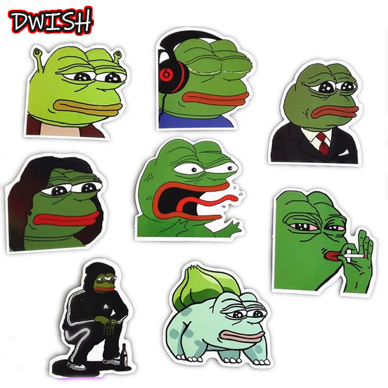 8pcs/Pack Funny Animal Pepe Frog Waterproof PVC Stickers Skateboard Guitar Suitcase DIY Laptop Motorcycle Snowboard Toy Sticker