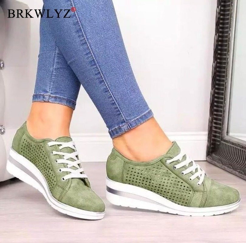 Women Wedge Shoes Summer Autumn Casual Canvas Sneakers Breathable Platform Sneakers Meddle Heel Pointed Toe Air Mesh Shoe