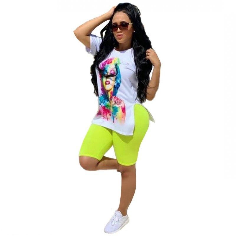 Spring Summer Women's Set Character Print Side Slit T-shirt Pencil Knee Length Pants Suit Two Piece Set Fashion Tracksuit Outfit