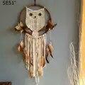 Handmade Dream catcher sinos eólicos hanging gota hoop rattan coruja pena decorar a casa