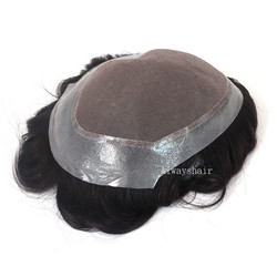 Peluca de cabello natural indio para hombres, peluca de 6 pulgadas de tamaño múltiple para hombres, tupé de encaje Mono, parche de cabello para hombre