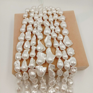 Image 3 - 16inch 100% freshwater loose pearl with  baroque shape in strand ,15 27 mm x 17 32 mm big baroque pearl . plated color