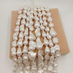 Image 3 - Perla suelta 100% de agua dulce de 16 pulgadas, con forma Barroca en hebra, Perla de Gran barroco de 15 27mm x 17 32mm. Color plateado