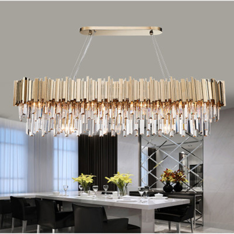Luxury Plated Gold Steel Lustre K9 Crystal Led <font><b>Pendant</b></font> <font><b>Lights</b></font> E14 Luminarias Dining Room Straight <font><b>Pendant</b></font> Lamp Lighting Fixtures image