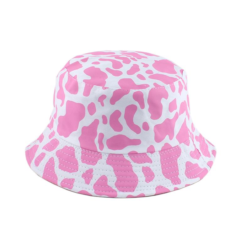 2021 New Fashion Korean Pink Cow Print Bucket Hat Women Reversible Fishing Cap Bob Chapeau Autumn Summer
