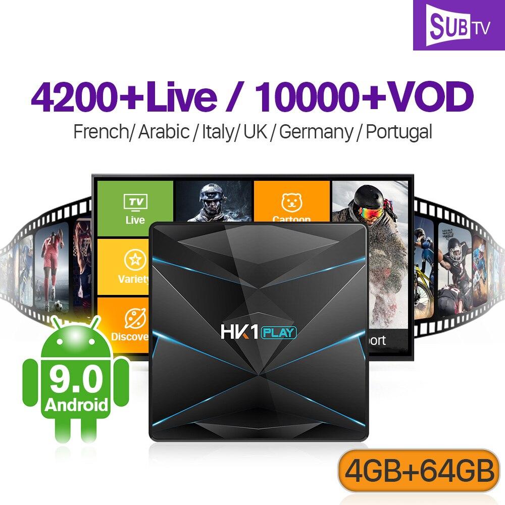 France IPTV Canada Android 9.0 sous-tv box HK1PLAY 1 an Code Europe serveur stable 4K en direct 4G 64G IPTV Portugal français italie iptv