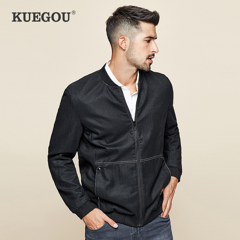 KUEGOU 2020 Spring Black Wool Casual Jacket Men And Coats For Outwear Hip Hop Baseball Varsity Bomber Pilot Vintage Clothes 0762