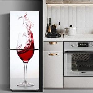 Refrigerator Sticker Door Cover Red Wine Cabinet 3D Self Adhesive Film Door Vinyl Fridge Cover Stickers Wallpaper Decals PVC Art
