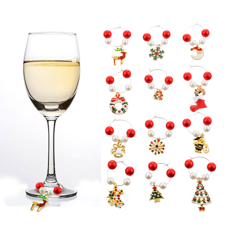 12pcs Xmas Elks Wine Glass Markers Charms Silicon Cup Markers Labels Xmas Party