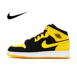 Оригинальный Nike Air Jordan 1 Mid AJ1 черный желтый Joe Мужская баскетбольная обувь высокие удобные спортивные уличные Нескользящие кроссовки
