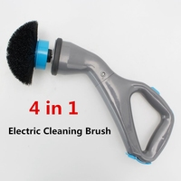 4Pcs Cordless Scrubber Electric Cleaning Brush with Brush Heads Bathroom Surface Bathtub Shower Tile Brush EU Plug|Cleaning Brushes| |  -