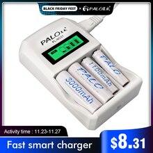 パロ4スロットスマートlcdインテリジェントaa aaaバッテリー充電器急速充電器と1.2v aa aaaニッカドニッケル水素充電式バッテリー