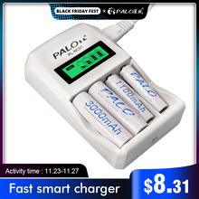 PALO cargador inteligente de batería AA y AAA, Cargador rápido con 4 ranuras, 1,2 V, AA, AAA, NiCd, batería recargable NiMh